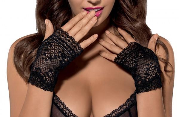Damen elegante Handschuhe schwarz Spitzen Stulpen elastisch transparent OneSize