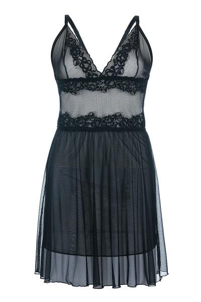 Damen XXL Dessous Chemise Negligee in schwarz erotisches Nachtkleid aus Spitze transparent
