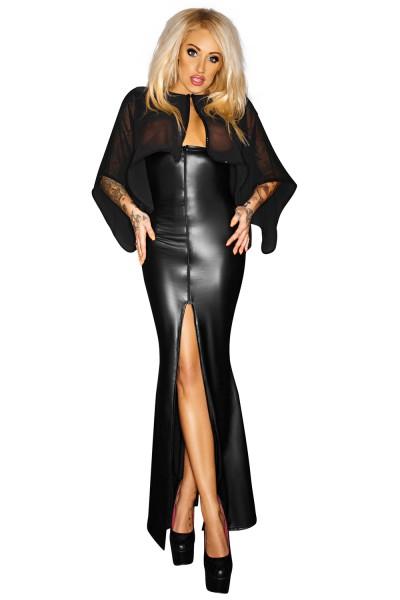 Schwarzes langes Kleid Abendkleid aus Chiffon und wetlook Material transparent geschlitzt