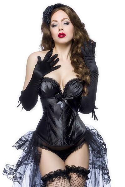 Schwarze Dessous Burlesque Satin-Corsage mit Rüschen, Cups und Schnürung