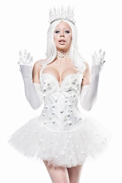 Damen kurzes Fantasy Kostüm Weiße-königin Verkleidung aus Corsage, Tutu Rock, Handschuhe, Rückenfrei