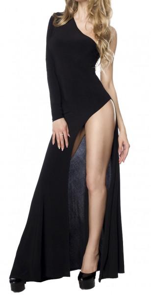 Schwarzes Clubkleid mit Beinausschnitt und asymmetrischen Rockteil bodenlang ein Ärmel eine Schulter