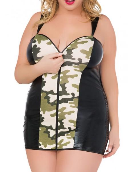 Damen XXL Dessous Chemise wetlook Negligee in schwarz Camouflage Mini-Nachtkleid mit Front-Reißversc