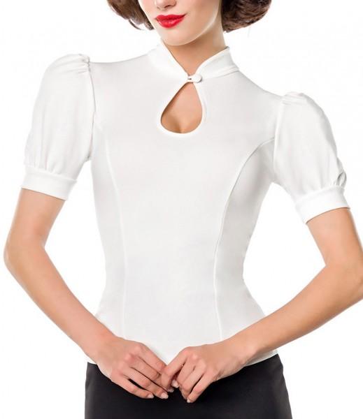Weiße Puffärmel Bluse mit Stehkragen und Tropfenausschnitt mit Knopf Jersey Bluse Rockabilly Kurzarm