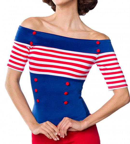 Blaue schulterfreie Bluse aus Jersey mit kurzen Ärmeln und Carmenausschnitt weiß rot gestreift Retro