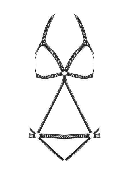 Frauen Neckholder Dessous Teddy Body in Schwarz mit Riemchen und Ringen transparent Crotchless ouver