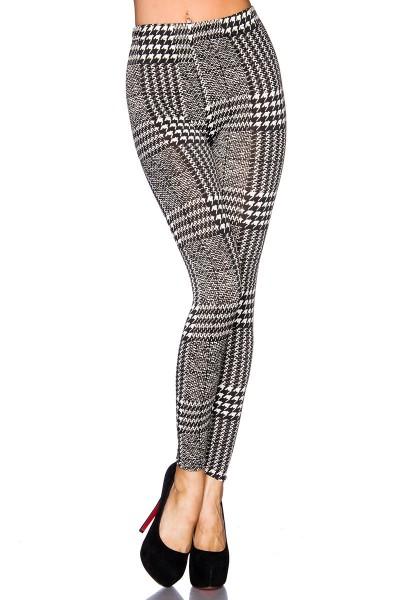 Schwarze Leggings mit weißem Muster und elastischem Bund