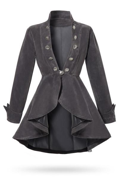Graue kurze Damen Gehrock Jacke mit langen Ärmeln und Stehkragen Metallknöpfen vorn Samt-Stoff