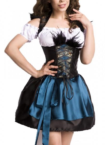 Corsagen Dirndl Kleid Kostüm mit Schürze, Rock und Petticoat Minidirndl mit Pfaumuster und ausgestel