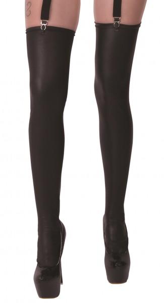 Damen Dessous Wetlook-Strümpfe Stockings für Strapshalter in matt schwarz