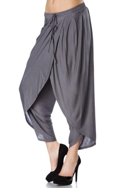 Graue Haremshose weit geschnitten mit Kordelzug zum Binden Damen Hose weit