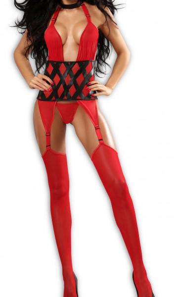 Erotisches Dessous Bodystocking in rot Neckholder Bänder Strapscorsage aus Tüll mit Strapshalter und