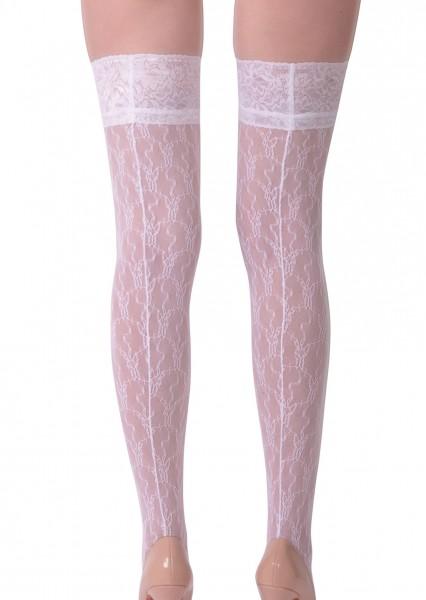 Dessous halterlose gemusterte Strümpfe aus Spitze und Netz in weiß Stockings mit Silikonstreifen Nah