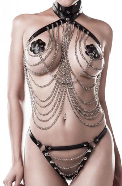 Schwarzes Damen Ketten Dessousset mit tiefem Ausschnitt Ketten Oberteil und String gekreuzte Bänder