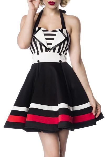 Schulterfreies Damen Neckholder Vintagekleid mit weiß schwarzen Streifen und schwarzen Knöpfen im Ma