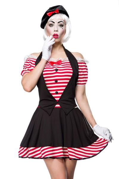 Damen Pantomime Kostüm Verkleidung mit Streifen Muster und Knöpfen mit Kleid, Mütze und Handschuhe O