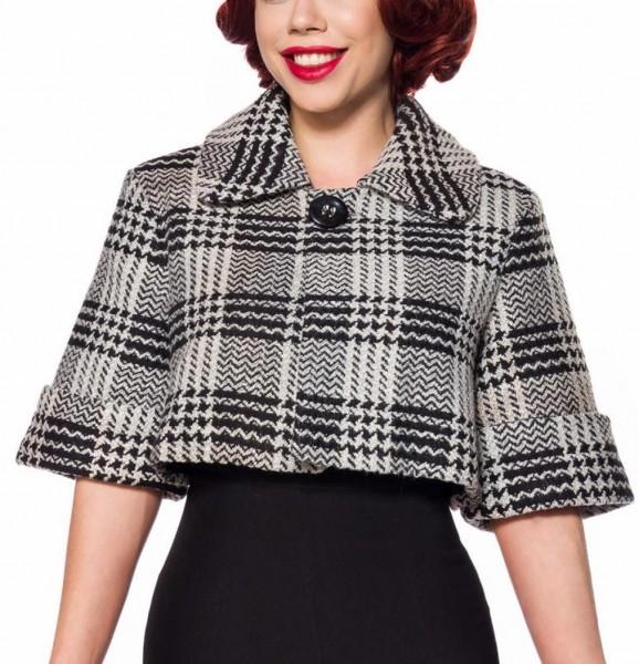 Schwarz weiße gestreifte kurze Damen Woll-Jacke mit kurzen Ärmeln und Umlegekragen Retro zum knöpfen
