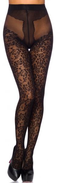 Schwarze transparente Damen Strumpfhose mit Rosenmuster und Kontrast im 10er Pack