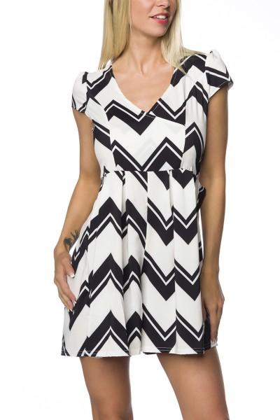 Sommerkleid Playsuit im Hosenrock Look mit Falten gemustert weiß schwarz Minikleid mit Puffärmel