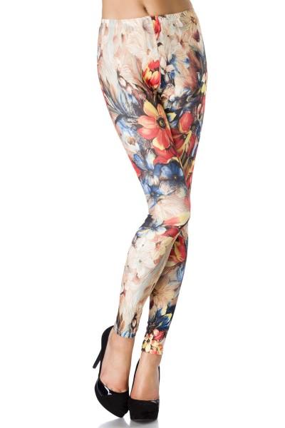Bunte Legging mit Blumen Druck blickdicht, weich und dehnbar Damen Hose Leggings Gtröße S-M