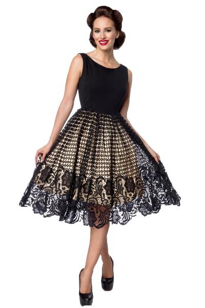 Schwarzes knielanges Swing Kleid im High Waist Schnitt mit Netz und Stickereien und U-Boot-Ausschnit