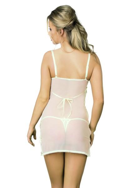 Weiß beiges erotisches Damen Dessous Negligee transparent gemustert aus Tüll und Spitze dehnbar Chem