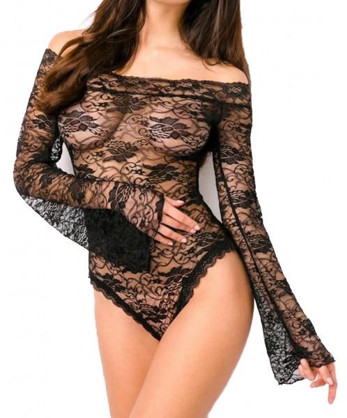 Schwarzer transparenter Body mit Muster und langen Ärmeln Schulterfrei hochgeschlossen ouvert