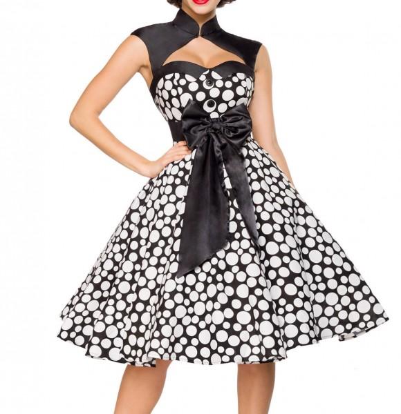 Weiß schwarzes gepunktetes ausgestelltes Rockabilly Kleid mit Stehkragen und Schleife Bolero Stoffkn