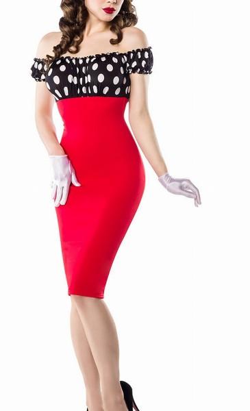 Schulterfreies Damen Pencilkleid in rot mit weißen Punkten Vintagekleid mit kurzen Ärmeln
