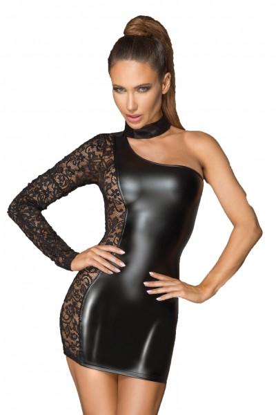Asymmetrisches wetlook Spitzenkleid Frauen Dessous Gogo Neckholder Kleid kurz in schwarz