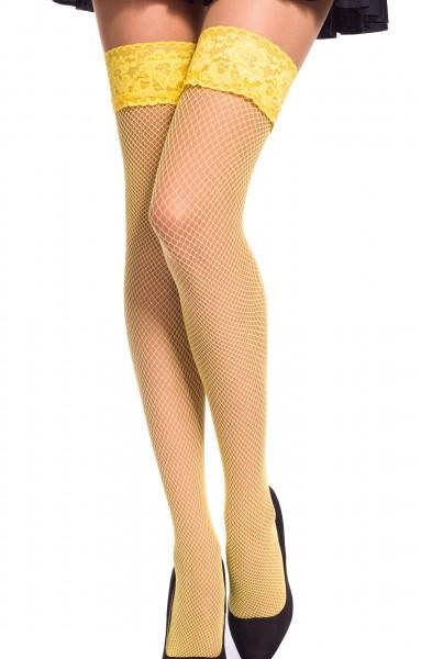 Damen Dessous halterlose Strümpfe aus Spitze in gelb Stockings mit Silikonstreifen und Spitze