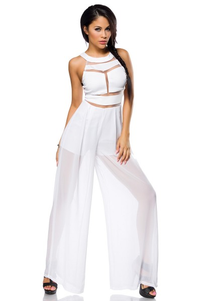 Weißer Damen Overall teiltransparent mit Reißverschluss, weiten Beinen und Shorts
