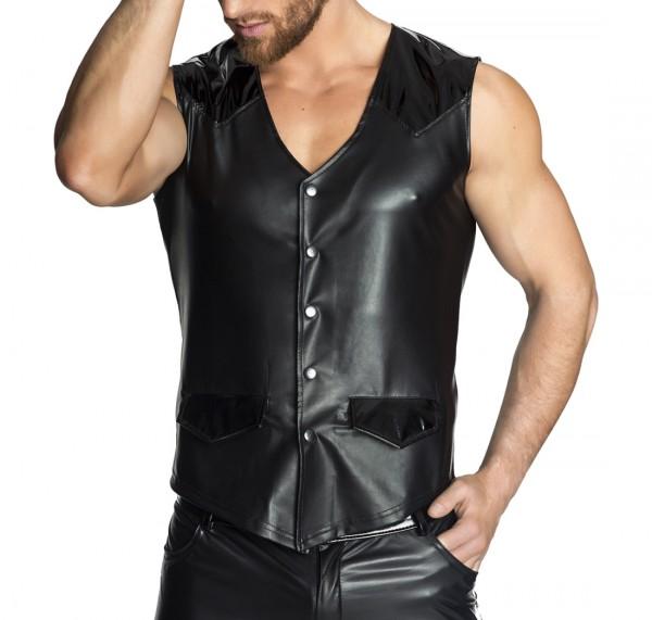 Schwarze Herren wetlook Weste mit Druckknöpfen und Taschen aus Lack Material