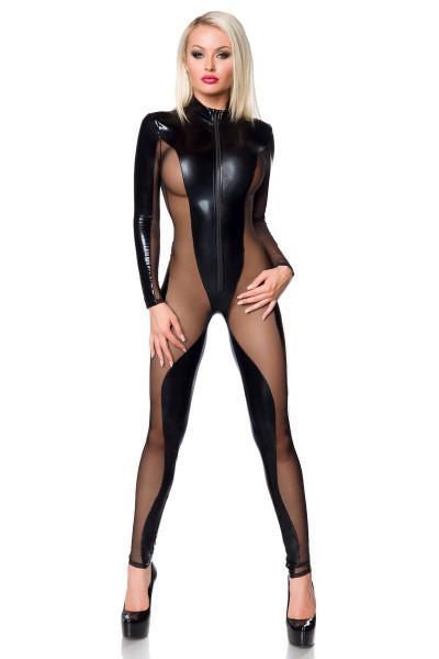 Schwarzer erotischer Damen Dessous Gogo-Overall aus wetlook Material und transparantem Mesh mit Stre