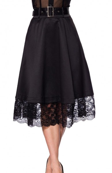 Schwarzer ausgestellter Vintagerock mit Spitzenborde am Saumabschluss und hohem Bund inkl. Gürtelsch