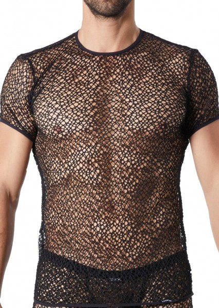 Schwarzes Herren Shirt transparent aus Netz Material und weich Männer Reißverschluss Shirt