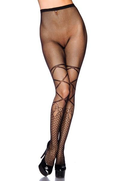 Transparente schwarze Damen Netz Strumpfhose mit Schleifen Muster und elastischem Bund