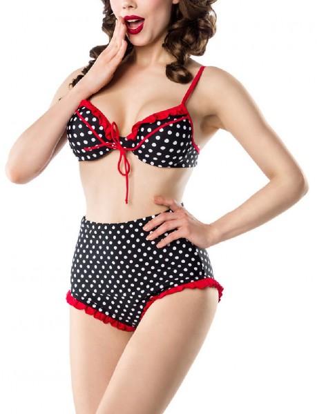 Damen Vintage retro Bikini Formbügel im Marine-Look rot schwarz weiß gepunktet mit High Waist Hösche