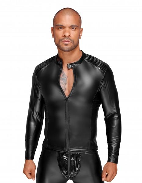 Erotische schwarze wetlook Herrenjacke Shirt mit Schulterklappen aus PVC und Ausschnitt