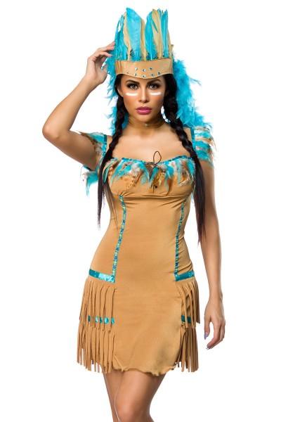 Damen Indianer Kostüm Verkleidung mit Federn und Fransen mit Kleid, Kopfschmuck, String, Halsband On
