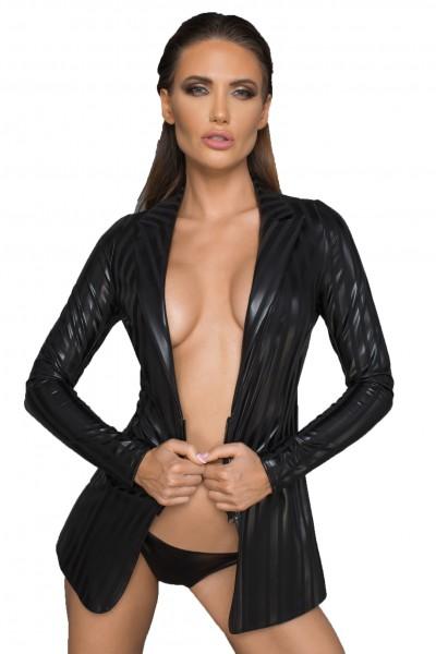 Frauen Jacke aus wetlook Material schwarz gestreift mit Reißverschluss erotisch