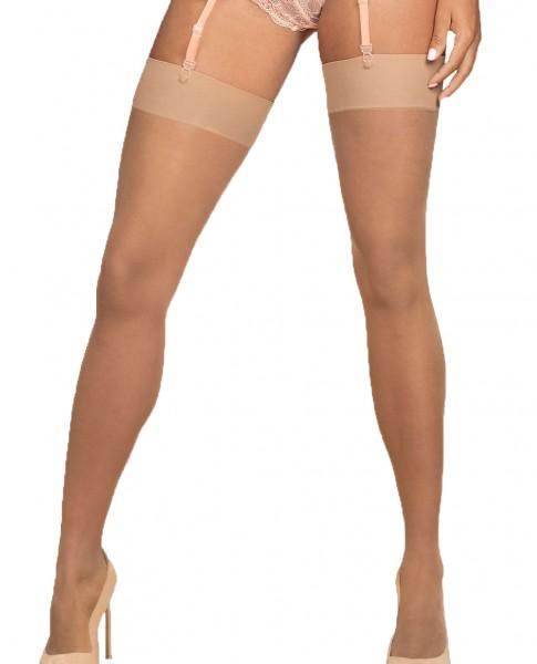 Erotische Stockings Frauen Dessous Strapsstrümpfe selbsttragende für Strapsgürtel Spitze Mesh Beige