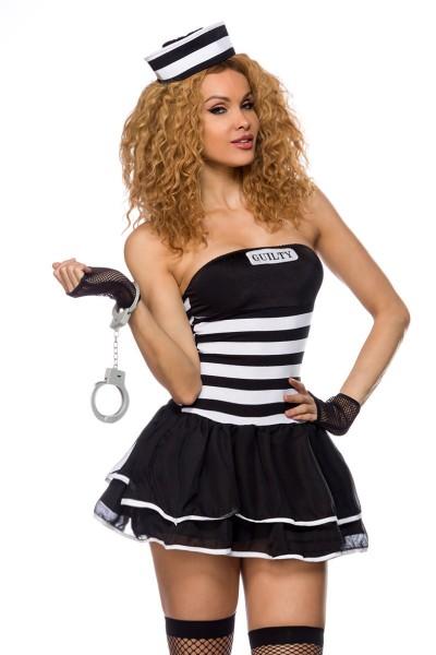 Damen Verbrecherin Kostüm Verkleidung in Bandeau mit Kleid, Mütze, Handschuhe, Handschellen, String