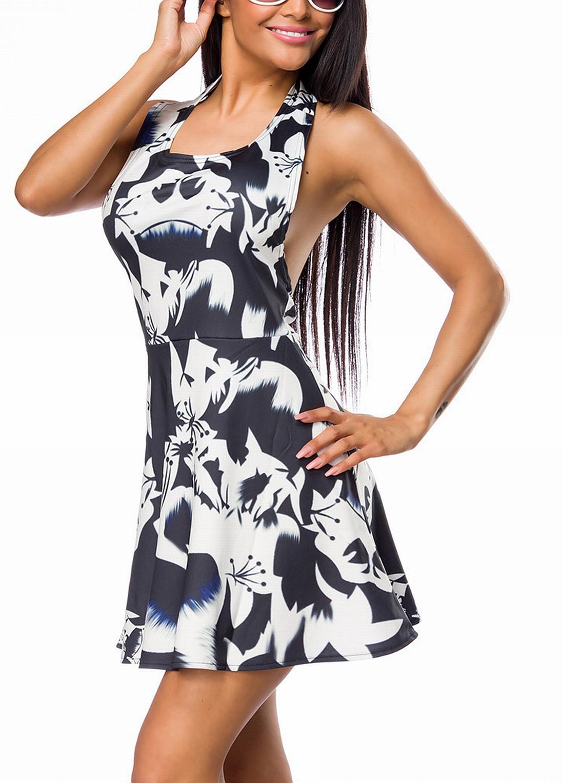 vollständige Palette von Spezifikationen Entdecken Sie die neuesten Trends Ruf zuerst Schwarzes dünnes Neckholder Sommerkleid mit abstraktem Blumenmuster kurz  und tailliert