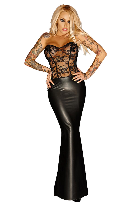 bester Lieferant wähle echt attraktiver Preis Enges langes Damen wetlook Kleid mit Spitze transparent, Stäbchen und  Reißverschluss dehnbar gothic