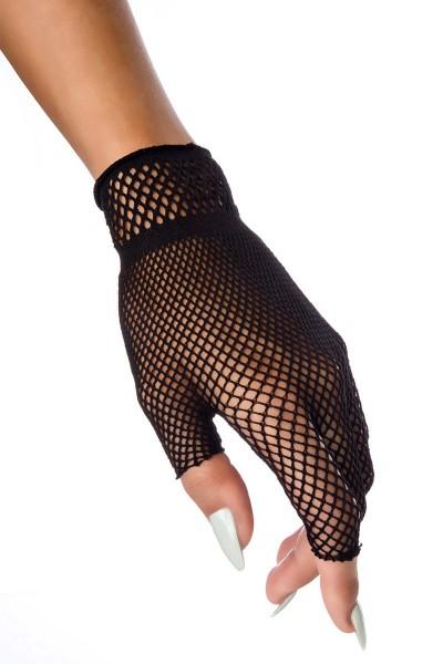 Schwarze Fingerlose Handschuhe kurz transparent elegante Handstulpen Netzhandschuhe