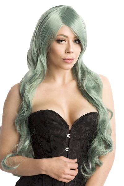 Grüne Damen Langhaar Perücke Wig mit gewelltem Haar langes Pony Perücke Verkleidung