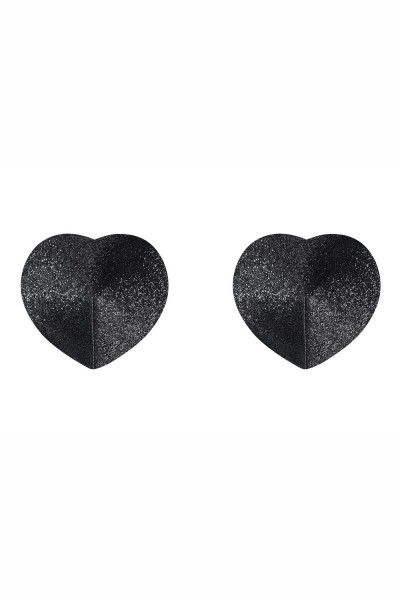 Schwarze Damen Dessous Nipple Covers, Herzform Patches und Satin BH brustfrei Selbstklebend und wied