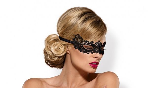 Maske Eye-Patch aus Spitze schwarz mit Satin-Band Augenbinde OneSize
