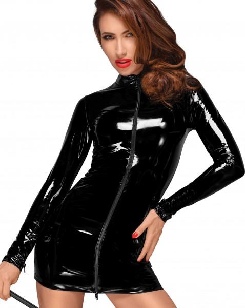 Schwarzes PVC-Kleid Dessous Lack Kleid mit zwei Wege Reißverschluss vorn Minikleid kurz mit langen Ä